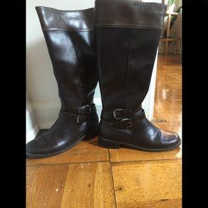 Aerosoles Women Dark Brown Faux Leather Boots